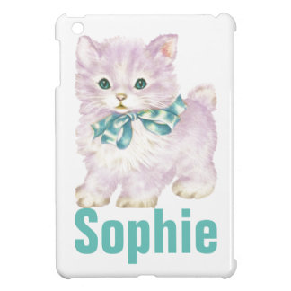 Vintage/Retro Purple Kitten Personnalised iPad Mini Covers