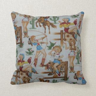 Vintage Retro Rodeo Cowgirls MoJo Throw Pillow