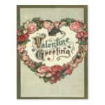 Vintage Retro Rose Wreath Valentine Card Post Card