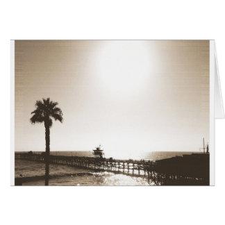 vintage retro san clemente pier california sepia card