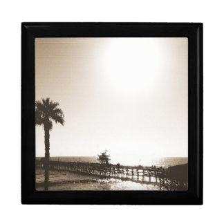 vintage retro san clemente pier california sepia gift box