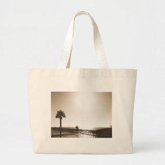 vintage retro san clemente pier california sepia large tote bag