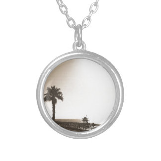 vintage retro san clemente pier california sepia silver plated necklace