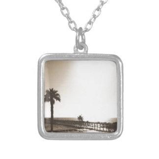 vintage retro san clemente pier california sepia silver plated necklace