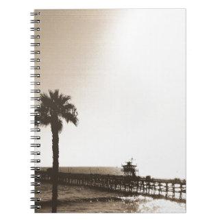 vintage retro san clemente pier california sepia spiral notebook