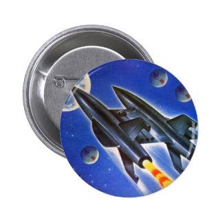 Vintage Retro Sci Fi Spaceship 'Three Earths' Pin
