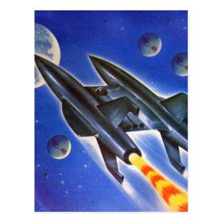 Vintage Retro Sci Fi Spaceship 'Three Earths' Postcard