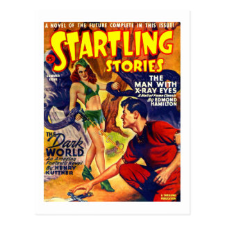 Vintage Retro SciFi Startling Stories Spaceship Postcard