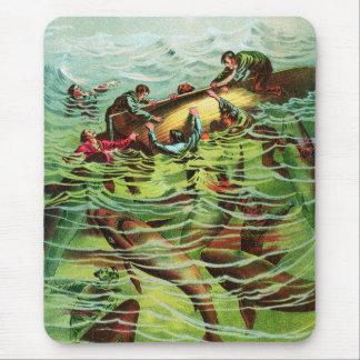 Vintage Retro Shark Attacks Saliors Mouse Pad