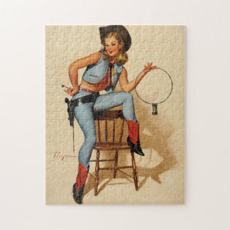Vintage Retro Sheriff Pin Up Girl by Gil Elvgren. Jigsaw Puzzles