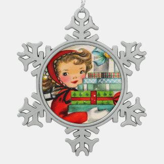 Vintage retro shopping girl snowflake ornament