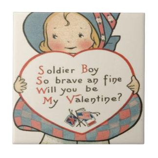 Vintage Retro Soldier Valentine Card Tile