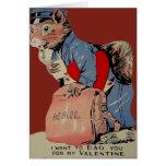 Vintage Retro Squirrel Mailman Valentine Card
