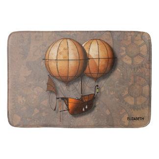Vintage Retro Steampunk Air Balloon With Ship Bath Mat