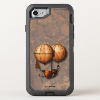 Vintage Retro Steampunk Air Balloon With Ship OtterBox Defender iPhone 8/7 Case