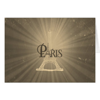 Vintage Retro Style Eiffel Tower Paris Grey Sepia Card