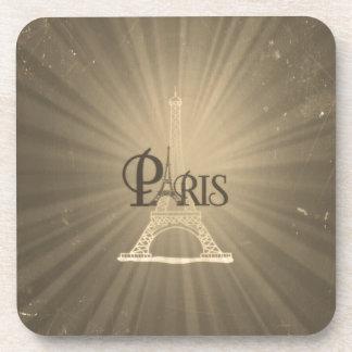 Vintage Retro Style Eiffel Tower Paris Grey Sepia Beverage Coaster