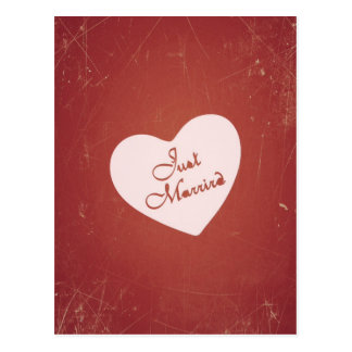 Vintage Retro Style Just Married On Antique Red Postcard