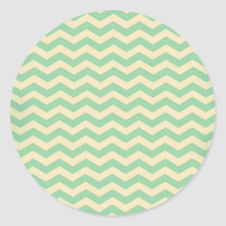 Vintage Retro Style MintGreen Cream Zigzag Chevron Round Sticker