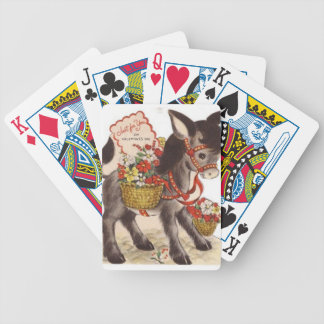 Vintage Retro Sweet Little Donkey Valentine's Day Bicycle Playing Cards