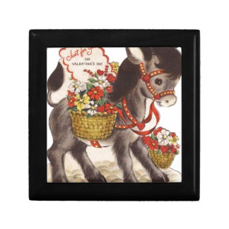 Vintage Retro Sweet Little Donkey Valentine's Day Gift Box