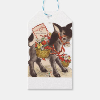 Vintage Retro Sweet Little Donkey Valentine's Day Gift Tags