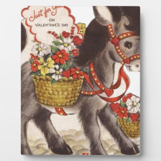 Vintage Retro Sweet Little Donkey Valentine's Day Plaque