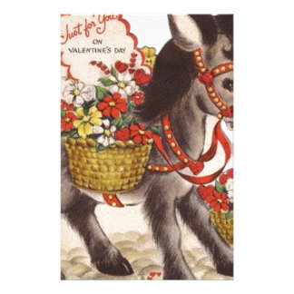 Vintage Retro Sweet Little Donkey Valentine's Day Stationery