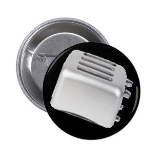 Vintage Retro Toaster Design - B W Grey Pin