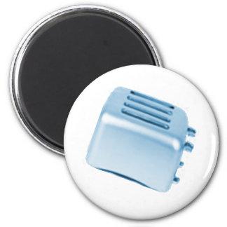 Vintage Retro Toaster Design - Blue 6 Cm Round Magnet