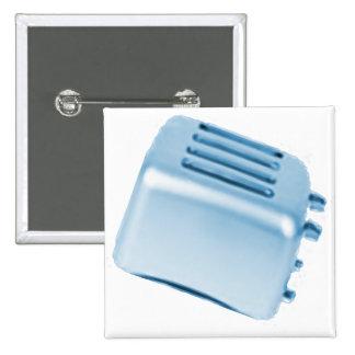 Vintage Retro Toaster Design - Blue Pinback Button