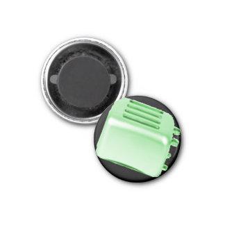 Vintage Retro Toaster Design - Green 3 Cm Round Magnet