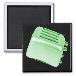 Vintage Retro Toaster Design - Green Square Magnet