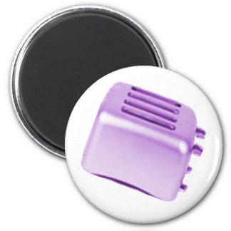 Vintage Retro Toaster Design - Purple 6 Cm Round Magnet