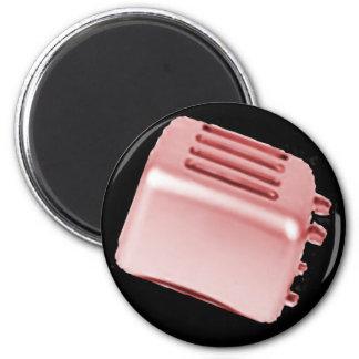 Vintage Retro Toaster Design - Red 6 Cm Round Magnet