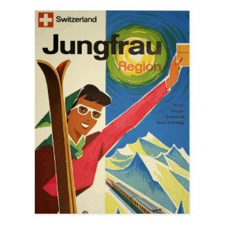 Vintage retro travel postcard Jugfrau Swizerland