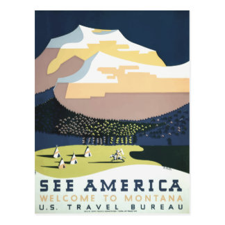 Vintage retro travel postcard Montana USA