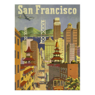 Vintage retro travel poster San Francisco USA Postcard