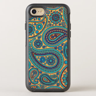 Vintage Retro Turquoise Rainbow Paisley motif OtterBox Symmetry iPhone 7 Case
