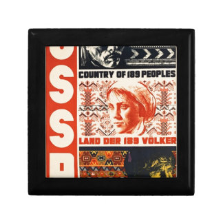 Vintage Retro USSR Country of 189 Peoples Small Square Gift Box
