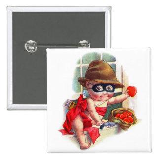 Vintage Retro Valentine Cupid the Little Thief Pinback Buttons