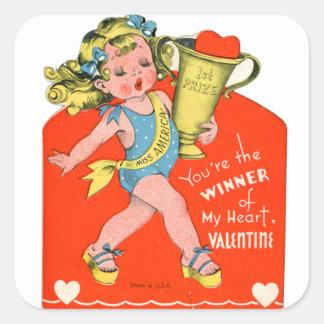 Vintage Retro Valentine Winner of My Heart Girl Square Sticker