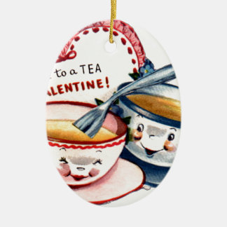 Vintage Retro Valentine's Day Ceramic Ornament