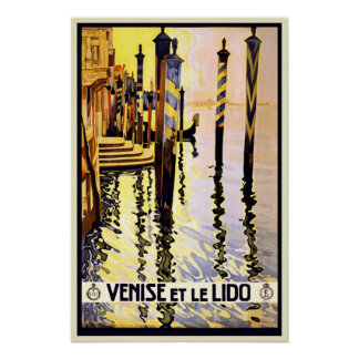 Vintage Retro Venice Italy Travel Poster