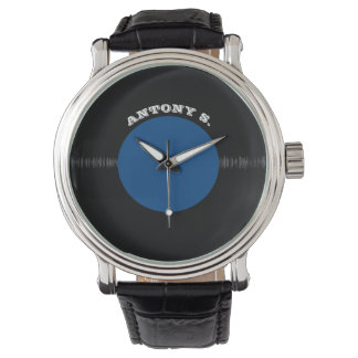 Vintage Retro Vinyl Record (Blue) Personalized Watch