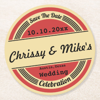 Vintage Retro Wedding Save The Date Coaster