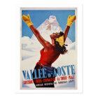 Vintage retro winter Italian Alps travel Postcard