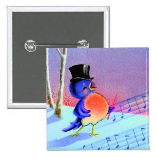 Vintage Retro Winter Singing Blue Bird Pin