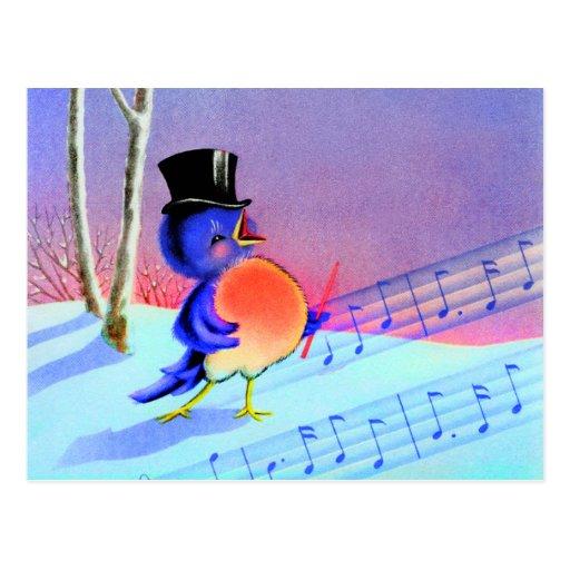 Vintage Retro Winter Singing Blue Bird Post Card