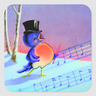 Vintage Retro Winter Singing Blue Bird Square Sticker
